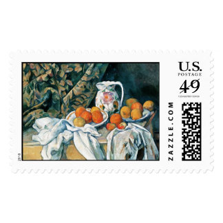 Cezanne Still Life Curtain,Flowered Pitcher,Fruit Postage