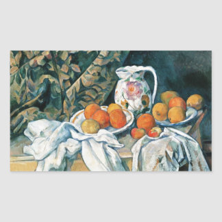 Cezanne Still Life Curtain,Flowered Pitcher,Fruit Rectangular Sticker