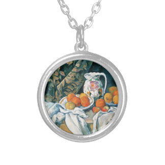 Cezanne Still Life Curtain,Flowered Pitcher,Fruit Silver Plated Necklace