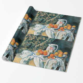 Cezanne Still Life Curtain,Flowered Pitcher,Fruit Gift Wrapping Paper