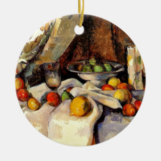 Cezanne - Still life, Post, Bottle, Cup and Fruit Ceramic Ornament