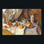 "Cezanne - Still life, Post, Bottle, Cup and Fruit Placemat<br><div class=""desc"">Paul Cezanne still life painting of Post,  Bottle,  Cup and Fruit,  laminated place mat.</div>"