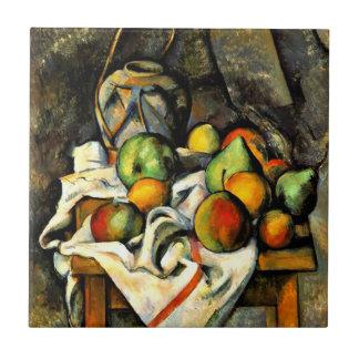 Cezanne - tarro y fruta del jengibre azulejo cuadrado pequeño