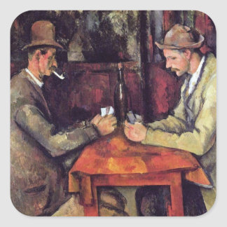 Cezanne - The Card Players - Poker Square Sticker