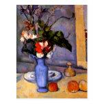 Cezanne todavía que pinta vida con arte azul del f tarjeta postal