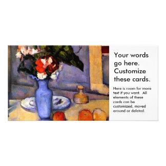Cezanne todavía que pinta vida con arte azul del tarjeta fotográfica personalizada