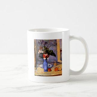 Cezanne todavía que pinta vida con arte azul del taza de café