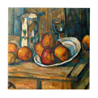 Cezanne - todavía vida con el jarro y la fruta de azulejo cuadrado pequeño