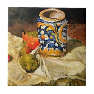 Cezanne: Todavía vida con el tarro de loza de barr Azulejo Cuadrado Pequeño