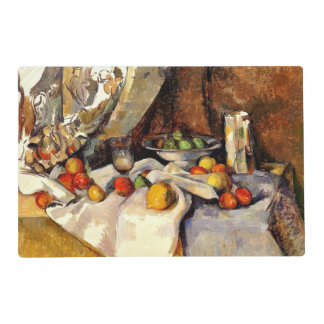 Cezanne - todavía vida, poste, botella, taza y salvamanteles