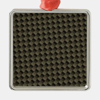 CF Carbonfiber Textured Metal Ornament