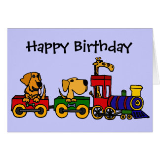 CF- Cartoon Train with Dogs and Giraffe Card