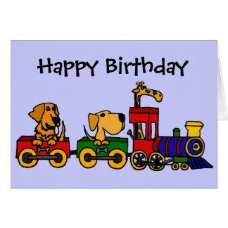 CF- Cartoon Train with Dogs and Giraffe Greeting Card