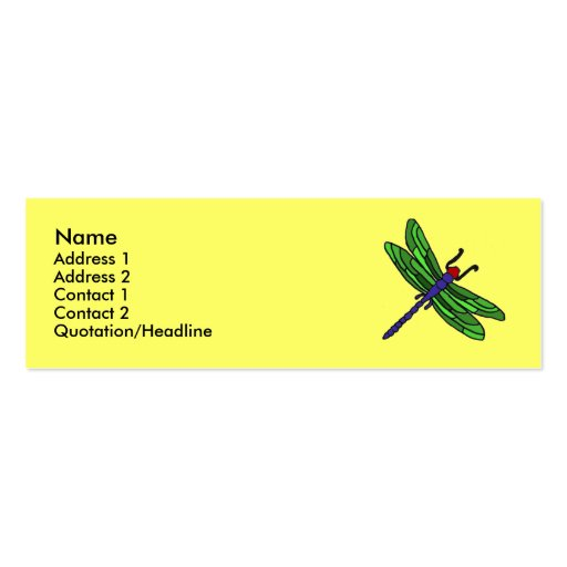 CF- Dragonfly Business Cards... Double-Sided Mini Business Cards (Pack Of 20)
