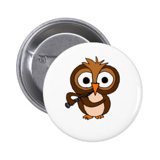 CF- Funny Owl Playing the Clarinet Button