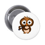 CF- Funny Owl Playing the Clarinet Pinback Buttons