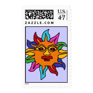 CF- Mexican Art Rainbow Colors Sun Postage