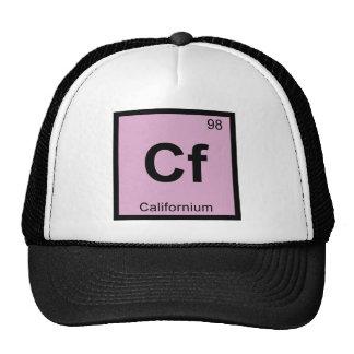 Cf - símbolo de la tabla periódica de la química gorras de camionero