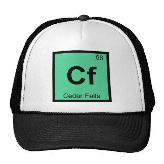 Cf - tabla periódica de la química de Cedar Falls Gorro De Camionero