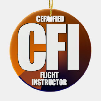CFI ACRONYM CERTIFIED FLIGHT INSTRUCTOR Double-Sided CERAMIC ROUND CHRISTMAS ORNAMENT