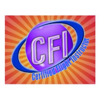 CFI ORB SWOOSH LOGO CERTIFIED FLIGHT INSTRUCTOR POSTCARD