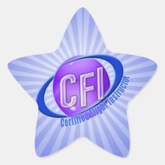 CFI ORB SWOOSH LOGO CERTIFIED FLIGHT INSTRUCTOR STAR STICKER