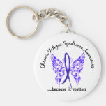 CFS Chronic Fatigue Syndrome Butterfly Basic Round Button Keychain