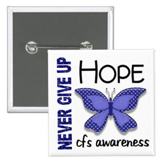 CFS Chronic Fatigue Syndrome Butterfly 2 Inch Square Button