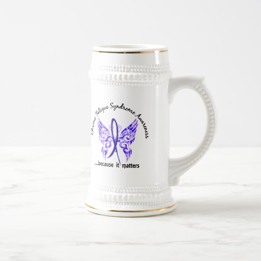 CFS Chronic Fatigue Syndrome Butterfly 18 Oz Beer Stein