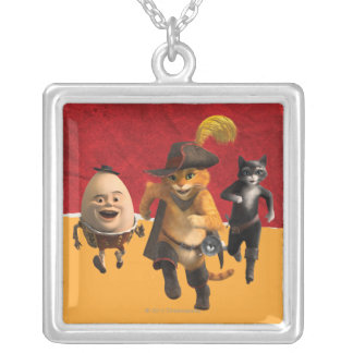 CG Puss Humpty Kitty Square Pendant Necklace