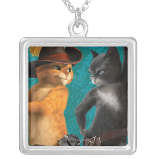 CG Puss Kitty Square Pendant Necklace