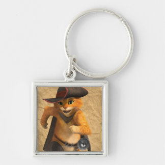 CG Puss Runs Silver-Colored Square Keychain
