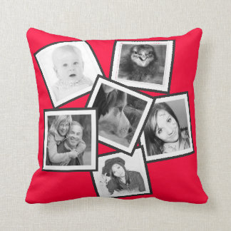 Ch0ose Color Six Photo Memories Collage Throw Pillow
