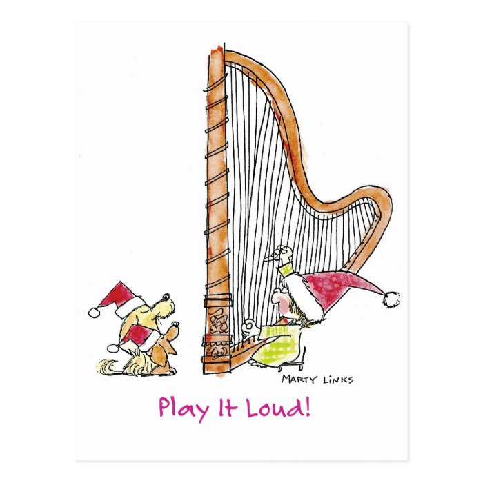 CH-004 Christmas Harp Postcard