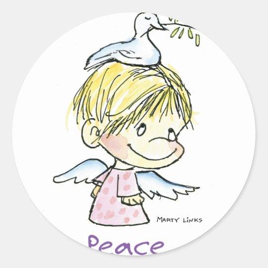 CH-009 Christmas Peace Classic Round Sticker