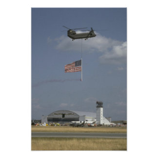 CH-47 Helicopter W/ American Flag Posters