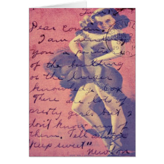 Cha Cha Cha Vintage Lady Digital Art Card