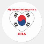 Cha Round Sticker