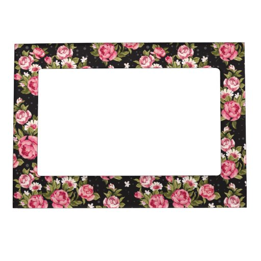 Chabby Chic Pink And White Roses Picture Frame Magnets