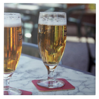 Chablis; two cool beers at 42 degrees hot summer ceramic tile