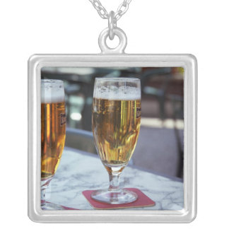 Chablis; two cool beers at 42 degrees hot summer square pendant necklace