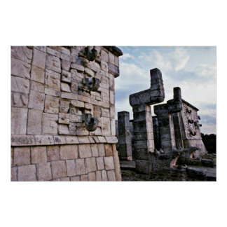 Chac-Long-Nosed Rain God On Temple Of Warriors Print
