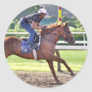 Chad Brown Workouts during Saratoga 150 Classic Round Sticker