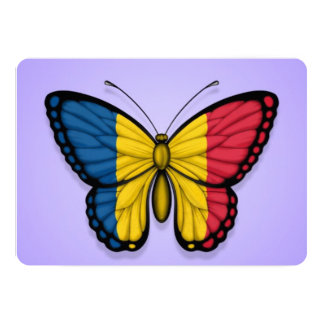 """Chad Butterfly Flag on Purple 5"""" X 7"""" Invitation Card"""