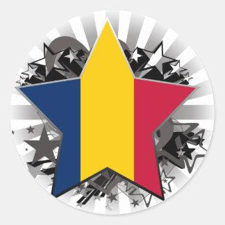 Chad Star Round Sticker