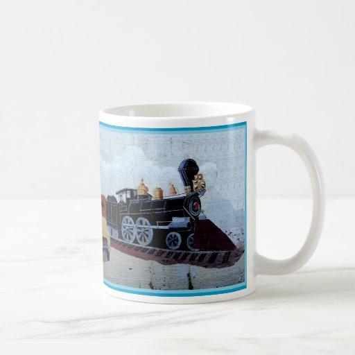Chadbourn train mural coffee mugs zazzle for Mural coffee