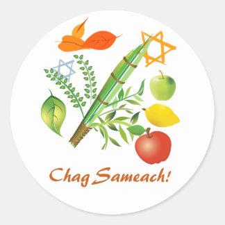 Chag Sameach Sukkot Classic Round Sticker