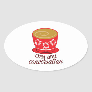 Chai And Conversation Oval Sticker