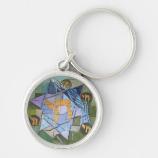 Chai Silver-Colored Round Keychain