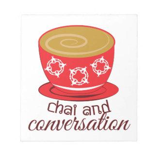Chai y conversación libreta para notas